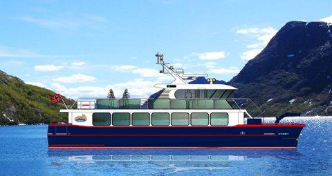 Illustrasjon av den nye Gjendebåten laga av fabrikant Maritime Partner i Ålesund.