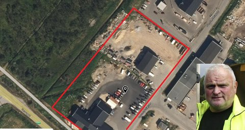 STRIDENS KJERNE: Birger Mietinen sitt firma har i årevis brukt et område som tilhører kommunen til å parkere biler og maskiner. Han mener bruker er lovlig.