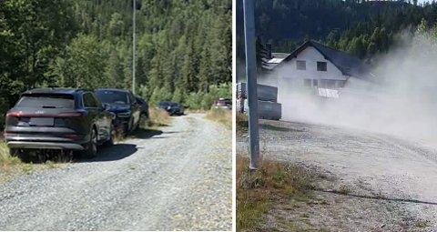 TRAFIKK OG STØY: Det har blitt betraktelig flere biler i boligfeltet denne sommeren, og da føyker det også mer på veiene i boligfeltene.