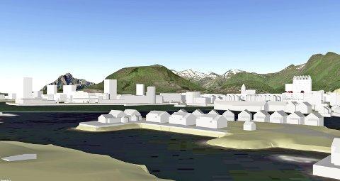 :Er det slik vi vil ha Lofotbyen vår i fremtiden? Foreslått hotell  til høyre.Skisse: Vågan kommune
