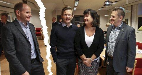 Slutt på forholdet: Reidar Kaabbel (fra v.) og flertallet i Våler formannskap sier nei til å forhandle videre med Tage Pettersen, Inger-Lise Skartlien og René Rafshol.