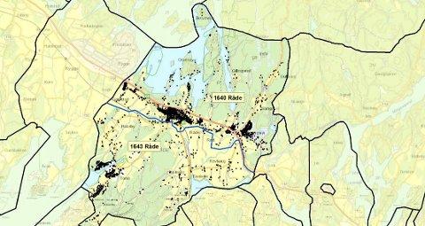 DELES: Fra 1. oktober 2019 vil Råde kommune deles på midten. Den sørlige halvdelen av kommunen vil få det nye postnummeret 1643, mens sentrum og de nordlige innbyggerne vil beholde 1640-nummeret.