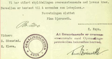 Utsnitt fra målebrev fra 1939 funnet i Statsarkivet