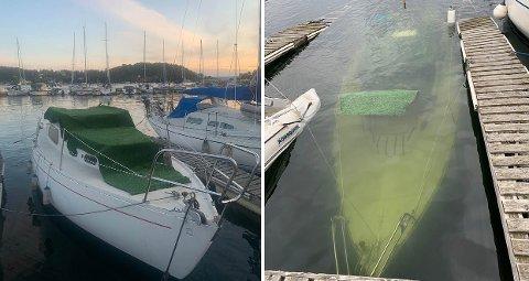 FØR OG NÅ: Her er seilbåten før den sank, og slik den så ut torsdag morgen.