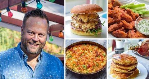 GODT FRA USA: Burgere, kyllingvinger, mac 'n cheese og pannekaker er noen av Gladkokkens tips til valgmat i kveld.