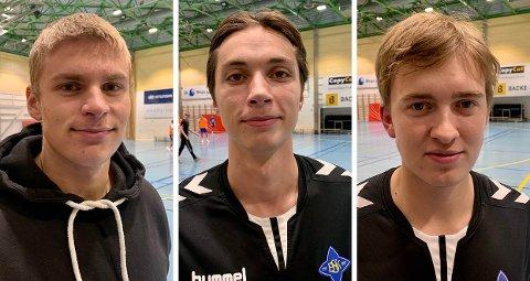 SNART MED BART: Håndballgutta til BSK lar barten gro i november. Trym Korperud Johnsen (venstre), Fabian Sandven og Christian Windt Ekeberg er blant de som skal prøve å få noen dun på overleppa.