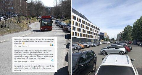 PARKERINGSDEBATT: Denne høsten forsvinner parkeringsplassen vis-à-vis bydelshuset på Lambertseter. Samtidig vil nye sykkelfelt i Langbølgen gjøre at gateparkeringen mellom Munkelia og Nordstrandveien forsvinner. Debatten går i kommentarfeltet. Hva mener du om saken?
