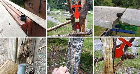 FARLIG: Her er noen av bildene fra lekeplassinspeksjonen i sommer.