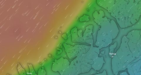 LAVTRYKK: Det er et lavtrykk i Nordsjøen som forventes å treffe kysten tirsdag.