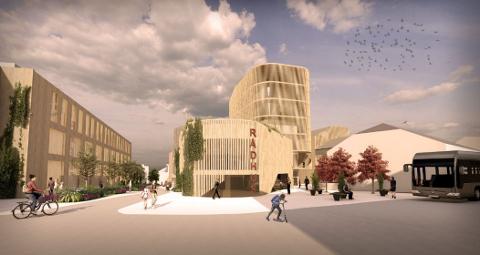 Slik ser Christian Hestenes og Olav Thon Gruppen for seg at Kvartal 18 i sentrum kan bli seende ut i fremtiden. Her sett fra nordsiden.