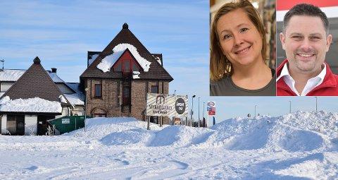 SPENTE: Kristin Kjøs i Løten næringslivsforening og bensinstasjonseier Stian Nybakken Olsen gleder seg over at det satses på Ånestad, der Rimfeldt-konsernet har kjøpt tomta vest for Myklegard Veikro.