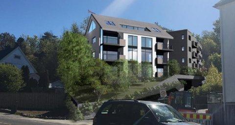 LEILIGHETER: Utbygger ser for seg et fem etasjer høyt bygg, med plass til 16 leiligheter i Prestegårdsveien 2. (Illustrasjon: Selecta Bygg)