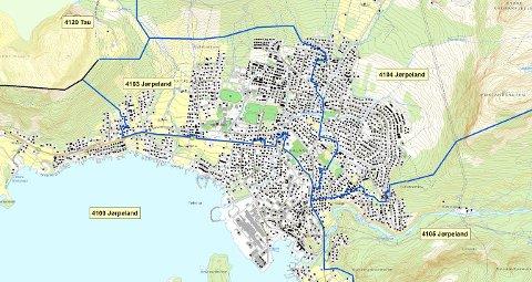 JØRPELAND: På Jørpeland vil sentrum og områder langs fjorden fremdeles ha 4100 som postnummer. Kart: Posten Norge
