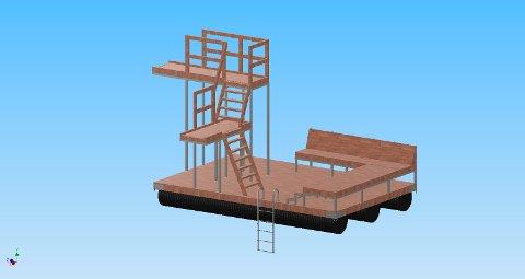 Sollid Mek. Verkstad er i gang med å bygge nytt stupetårn/badeplattform til Kalkstranda.