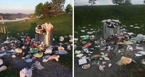 GRILL-TRØBBEL: Dette er den kommunale grillen nærmest Storøyodden. Den dynges ned med søppel på de beste soldagene.