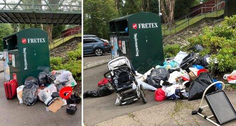 MER SØPPEL: Bildet til venstre viser mengden søppel 27. juli. Bildet til høyre er slik det var på søndag 8. august. SVEIP FOR FLERE BILDER.