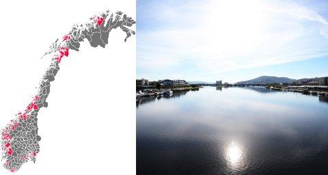 NYTT KART: Norgeskartet som gjelder fra 2020 reduserer antall kommuner fra 422 til 356. Klikk på Nettavisens interaktive kart nede i artikkelen for å se hvilke kommuner som nå blir slått sammen og hva de heter. Foto: Nettavisen/Drammens Tidende