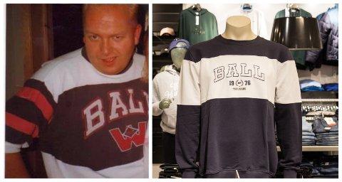 GJENSYN: Geir Bjarte Hjetland var ein av dei som smykka seg med genseren på 80-talet. Det er lite som skil den nye modellen frå den originale Hjetland har på seg på bildet han fann i albumet heime.