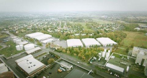 Slik blir fabrikken ferdig utbygd: Fredrikstad Seafoods skal bygges i to etapper. I første omgang får anlegget to tanker og et slakteri, som ses til venstre i tegningen. (Illustrasjon: Nordic Aquafarms)