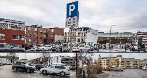 RØD SONE: Parkeringsplassene på taket der DNB tidligere holdt til (øverst), ved Torvbyen i Daniel Leergardsgate og i Nygaten bak det tidligere Obos-bygget blir fra nyttår av rød sone. Det betyr maks to timers parkering til en pris på 41 kroner i timen.