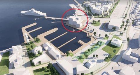 ÅTTE ETASJER: Her kan det bli et nytt hotell med 160 rom, hvis utbyggerne får viljen sin. Innsenderne mener Horten har nok av hoteller allerede. Illustrasjon: Lund Hagem Arkitekter