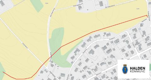 SKAL GRAVE: Fra Prestegårdsveien og forbi Heiderødveien skal det graves i vinter når ny ringledning skal i bakken. Den røde streken viser hvor rørledningen skal legges.