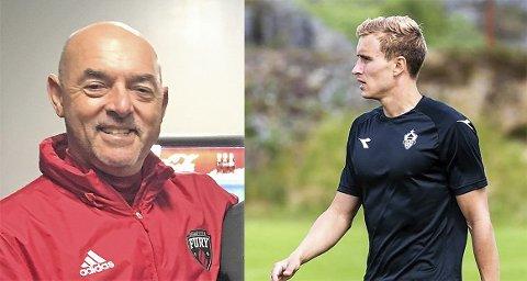 MØTES I SOTRA: Bruce Grobbelaar (tv) er engasjert som keepertrener i Øygarden FK, der torpedølen Martin Hoel Andersen nå spiller.
