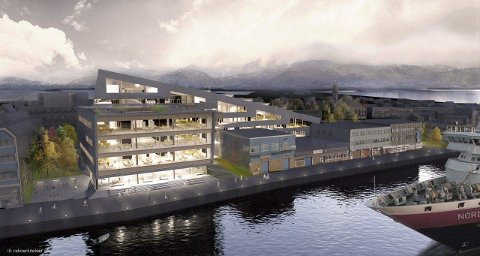 Pause: Statsbygg mener det er på tide med en pause i prosjektet med nytt bygg for Brønnøysundregistrene. Skisse: Ratio Arkitekter