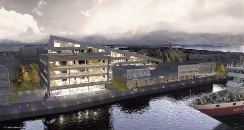 Kaifronten: Dette er de siste skissene som er presentert av et nytt registerbygg sett fra Brønnøysundet. Det er to bygg bundet sammen med en skywalk over gateplan. Skisse: Ratio arkitekter