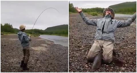 GLEDE: Så glad blir man når man endelig får fisken på land.