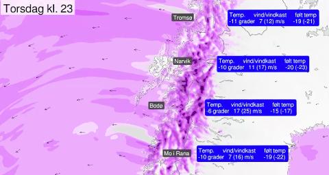 FØLT TEMPERATUR: I dette kartet ser du hva følt temperatur kan bli på grunn av den sterke vinden. Finn frem hua!