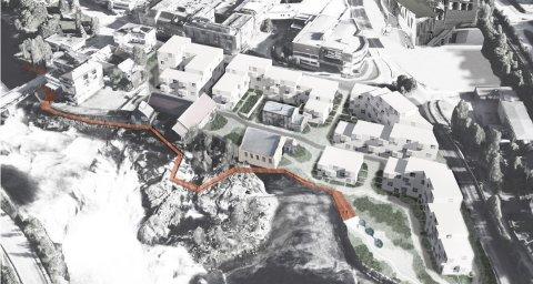 IDEEN: En gangvei som binder byen mer sammen med fossen, ble skissert i Byutviklingsprosjektet i Kongsberg i 2019 og 2020. Nå har en pengegave bidratt til å gjøre virkelighet av ideen.