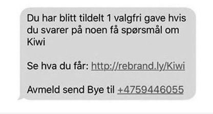 ADVARER: Denne SMS'en er ikke fra KIWI.