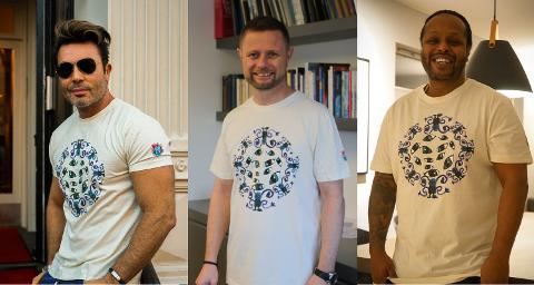 """KJENDISFAKTOR: Flere kjendiser er med å promotere """"Kunsten å glede""""-t-skjortene Her er Jan Thomas, Yosef Wolde-Mariamog Bent Høie."""