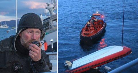 TREDJE GANG: Tre ganger denne høsten har Audun Rikardsen berget folk i havsnød på Kvaløya. Onsdag kolliderte to av hans egne studenter med en hval, og havnet i vannet. Dette bildet ble tatt i forbindelse med et sjarkforlis tidligere i høst. På bildet til høyre blir RIB-en som kantret onsdag tat om bord i KV «Heimdal».