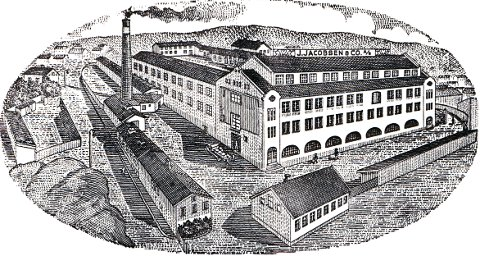 BRYNJE TRIKOTASJEFABRIKK A/S. Den tidligere fabrikkbygningen ved Bøkkerbakken ble bygd i 1916. Her ligger i dag Larvik politistasjon.