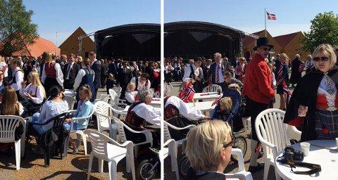Leserfotos som viser de to flaggstengene å Fredriksvern verft 17. mai.