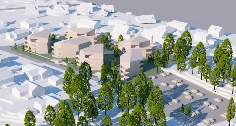 Slik ser arkitekt og utbygger for seg at boligprosjektet på Duken kan ta seg ut, med cirka 50 boliger fordelt på seks lavblokker.