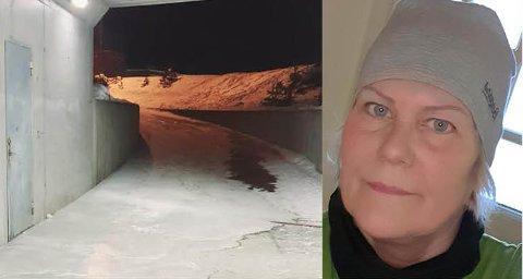 REAGERER: – Nå må noe gjøres for å sikre de to fotgjengerundergangene på Hallingby, sier Inger Jorunn Olafsdatter Odda.
