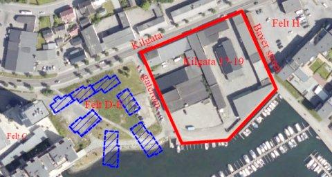 KILEN: Innenfor den røde streken på blant annet den tidligere Maxbotomta (Felt F/G) skal Inter Eiendom oppføre inntil 170 boliger og noe næring. T.v. Nye Kilen Brygge (Felt D/E). (Illustrasjon: Sandefjord kommune)