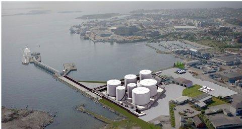 Slik vil et eventuelt nytt tankanlegg se ut i Risavika. Shell vil flytte lagringstankene sine fra fjellhallene og ut til havnen.