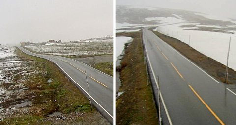 Slik ser det ut på Dyranut (t.v.) og Skulevika på Hardangervidden i morgentimene i dag. Veitrafikksentralen advarer om at det kan være glatt.