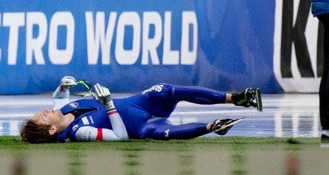 Hamar 20200301.  Sverre Lunde Pedersen endte på 7.plass etter 10 000m under allround VM for herrer  i Vikingskipet på Hamar. Han tok VM sølv sammenlagt. Foto: Geir Olsen / NTB