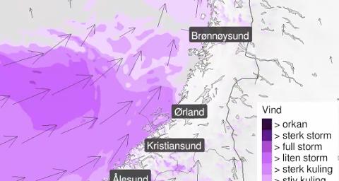 Et kraftig lavtrykk i Norskehavet vil føre til kraftig vind mandag ettermiddag og kveld.