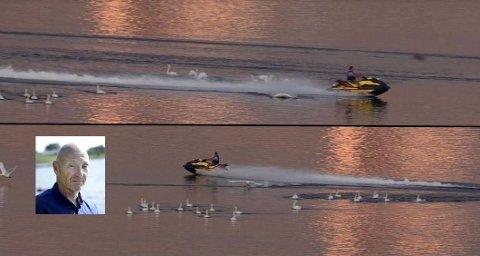 Rune Bård Hansen anmelder uvettig kjøring med vannscooter. Bildene viser en annen episode av vannscooterkjøring i Byfjorden som ble anmeldt i sommer.