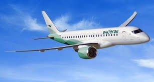 NYTT FLY: Dette er Widerøes nye Embraer-fly som settes i trafikk fra Torp i august.