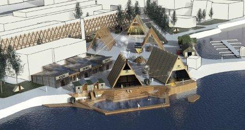 PROSJEKT: Slik ser skissene til Salt-prosjektet til Erlend Mogård-Larsen ut. Området som er pekt ut er tomta mellom Hålogaland Teater og Fram-senteret sør i Tromsø sentrum.