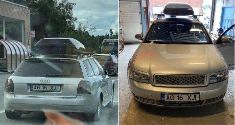 VIL HA TIPS: Denne Audi-en ble brukt av tyvene som etterforskes for flere brekk i Trøndelag den siste tida. Blant annet er den observert i Mære, et sted politiet mistenker at de kriminelle har oppholdt seg over flere dager.
