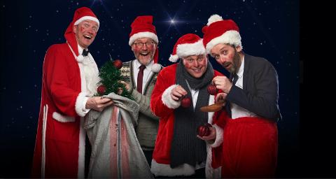 Humørfylt høgtid: Paul Håvard Østby (t.v.), Torbjørn Dyrud, Jonas Rønning og Jan Martin Johnsen skal tøyse jula inn på Fagernes torsdag den 17. desember.