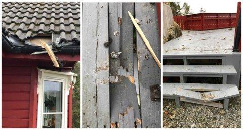 Fleire hus og garasjar blei skada etter uhellet.